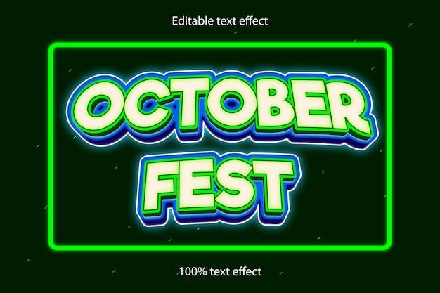 Desenho de texto editável do festival de outubro com efeito de 3 dimensões em relevo e estilo neon