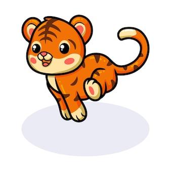 Desenho de tigre bebê fofo correndo