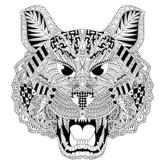 Desenho de tigre em estilo zentangle