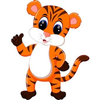 Desenho de tigre fofo dando o polegar para cima