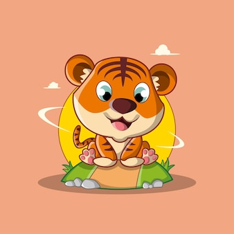 Desenho de tigre fofo