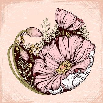Desenho de tinta de flor