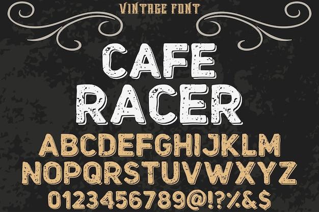 Desenho de tipografia de efeito de sombra do alfabeto café racer