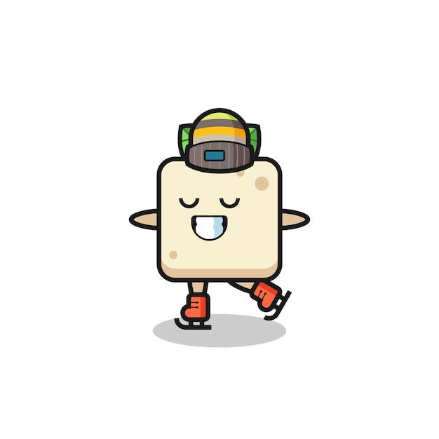 Desenho de tofu como um jogador de patinação no gelo fazendo performance, design de estilo fofo para camiseta, adesivo, elemento de logotipo