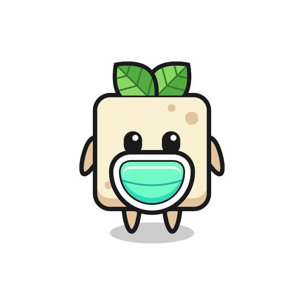 Desenho de tofu fofo usando uma máscara, design de estilo fofo para camiseta, adesivo, elemento de logotipo