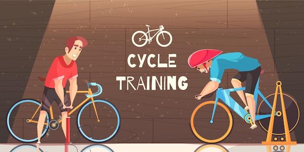 Desenho de treinamento de corrida de ciclo