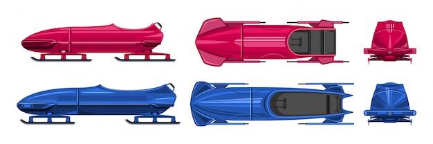 Desenho de trenó definir ícone. ilustração ilustração trenó no fundo branco. ícone dos desenhos animados conjunto bobsled.