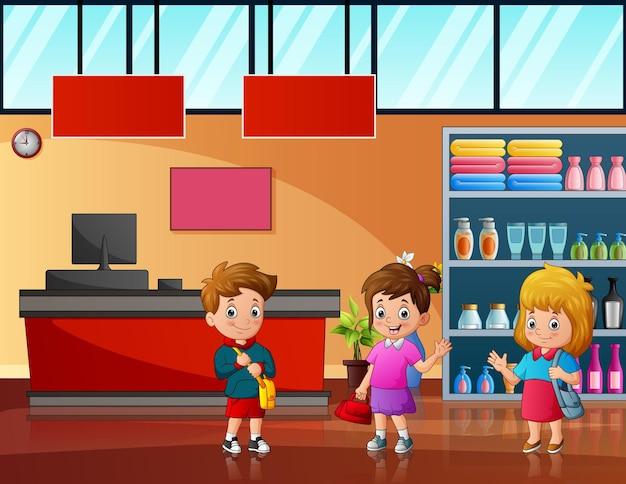 Desenho de três crianças na ilustração do supermercado