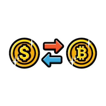 Desenho de troca de dólar com bitcoin