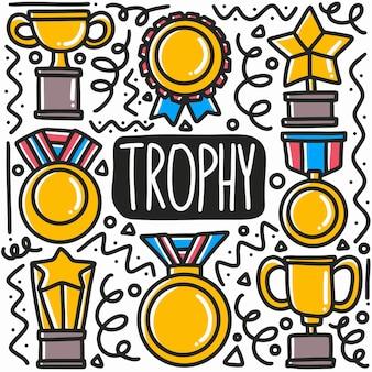 Desenho de troféu desenhado à mão com ícones e elementos de design