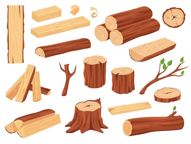 Desenho de tronco de madeira troncos de árvore tocos de tábuas empilhadas galhos de lenha com folhas definidas Vetor Premium