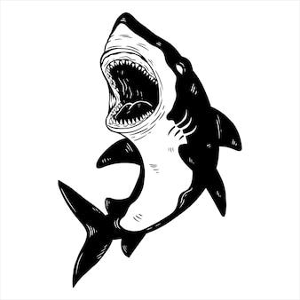 Desenho de tubarão com desenho à mão ou estilo esboçado