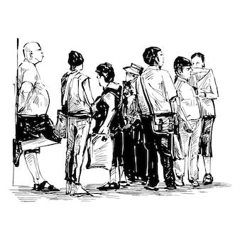Desenho de turistas estão esperando o ônibus
