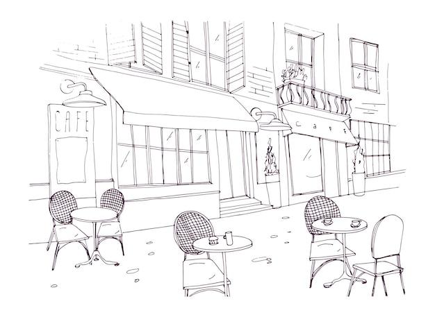 Desenho de um café ou restaurante na calçada com mesas e cadeiras em pé na rua da cidade ao lado de um prédio antigo