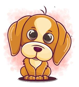 Desenho de um cão fofo personagem sentado