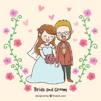 Desenho de um casal recém-casado
