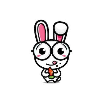 Desenho de um coelho fofo comendo cenouras