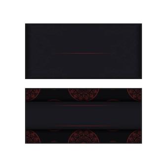 Desenho de um convite com um local para o seu texto e padrões de luxo. vetor pronto para imprimir design de cartão postal cores pretas com padrões gregos.