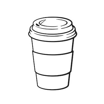Desenho de um copo de papel descartável com café ou chá. ilustração vetorial