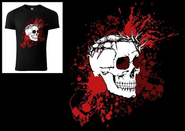 Desenho de um crânio de camiseta com uma coroa de espinhos em uma mancha de tinta ensanguentada