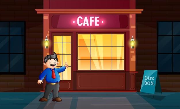 Desenho de um homem de uniforme em frente ao café