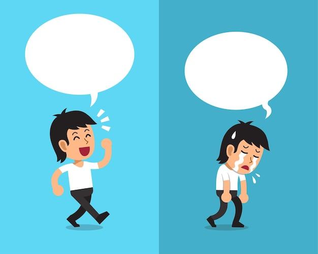 Desenho de um homem expressando emoções diferentes com balões de fala brancos.