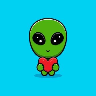 Desenho de um lindo alienígena com um coração vermelho