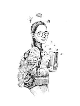 Desenho de um lindo estudante universitário segurando um livro em um fundo branco isolado
