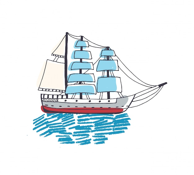 Desenho de um lindo navio, veleiro, fragata ou caravela com vela no oceano