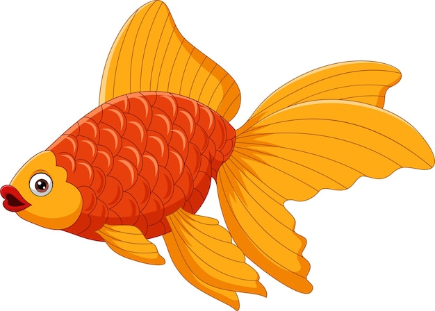 Desenho de um lindo peixinho dourado em um branco