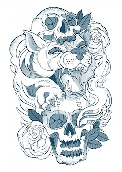 Desenho de um lobo com um crânio humano nas patas