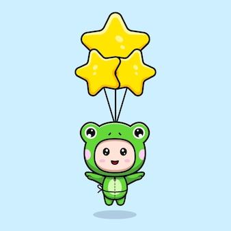 Desenho de um menino bonito com fantasia de sapo flutuando com um balão estelar