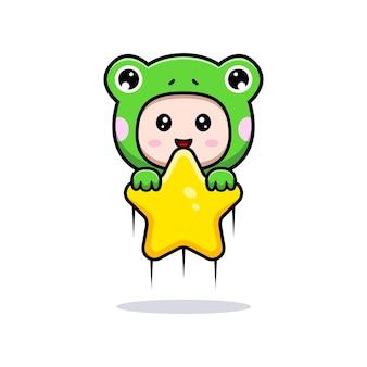 Desenho de um menino bonito vestindo uma fantasia de sapo segurando uma estrela