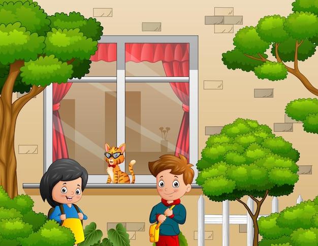 Desenho de um menino e uma menina indo para a escola