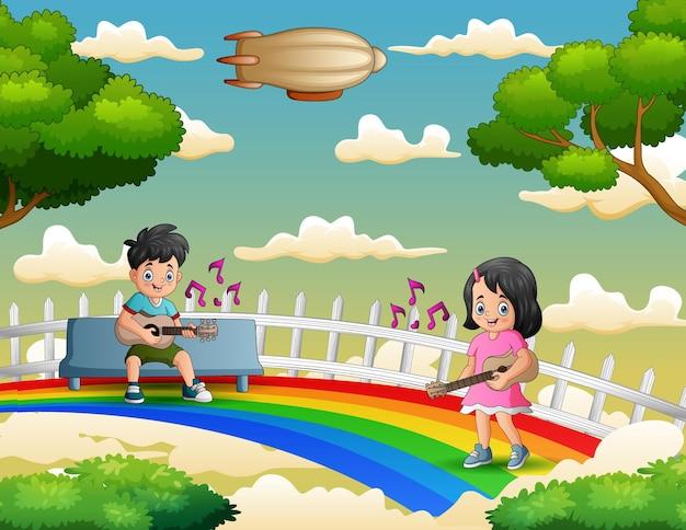 Desenho de um menino e uma menina tocando violão sobre o arco-íris