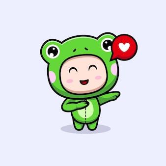 Desenho de um menino fofo vestindo uma fantasia de sapo tocando com amor