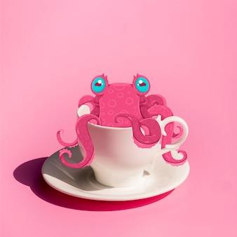Desenho, de, um, polvo, em, um, xícara café
