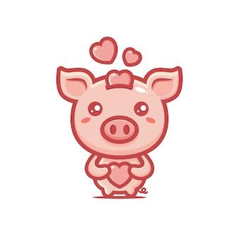 Desenho de um porco com amor