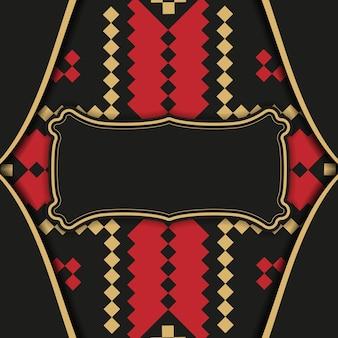 Desenho de um postal a preto com motivos eslovenos. design de cartão de convite com espaço para o seu texto e ornamentos vintage.