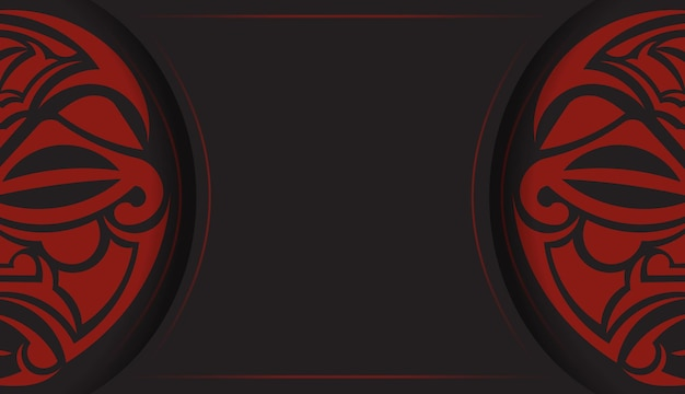 Desenho de um postal na cor preta com uma máscara dos padrões dos deuses. projeto do convite com um lugar para o seu texto e um rosto em um enfeite de estilo polizenian.