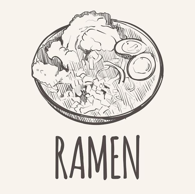 Desenho de um prato de ramen com ovos