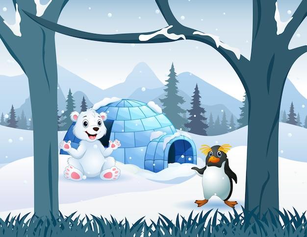 Desenho de um urso polar e um pinguim perto da casa do iglu