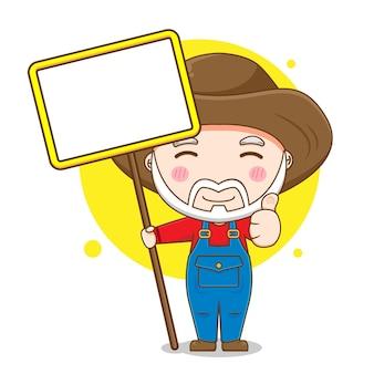 Desenho de um velho fazendeiro com o tabuleiro vazio