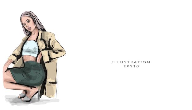 Desenho de uma bela jovem desenhada à mão