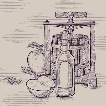 Desenho de uma composição de maçã cidre