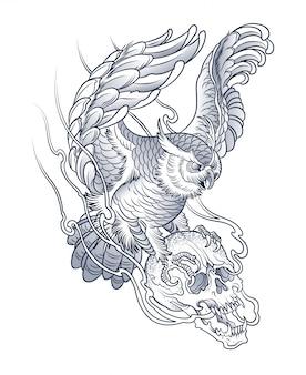Desenho de uma coruja com um crânio humano