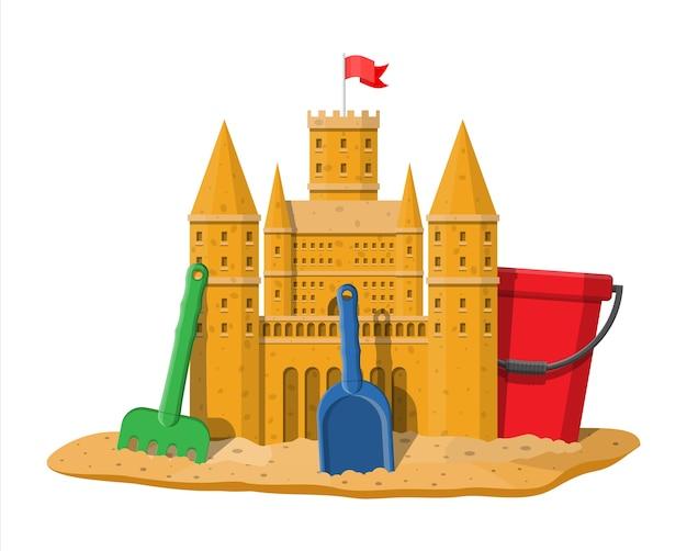 Desenho de uma escultura de castelo de areia com um balde de plástico Vetor Premium