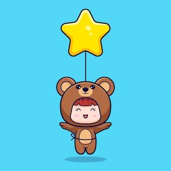Desenho de uma linda garota com fantasia de urso flutuando com um balão estelar