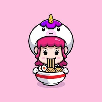 Desenho de uma linda garota usando fantasia de unicórnio comendo ramen.