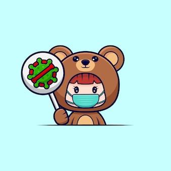 Desenho de uma linda garota usando fantasia de urso com máscara e segura o símbolo de parar de vírus